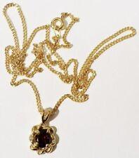 pendentif chaine rétro grenat cz diamant bijou vintage couleur or * 3541