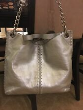 MICHAEL KORS Uptown Astor Hobo Leather Silver/Gunmetal Tote