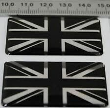 FIAT 500 2 x UNION JACK BLACK & SILVER GB CAR BADGE SELF ADHESIVE 50x30mm