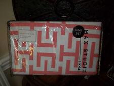 NIP Max Studio Cream/Orange Geometric King Duvet Cover Set 3pc