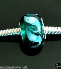 10pcs handmade dark green murano glass charm beads fit european snake chain