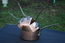 FRENCH CHEF COOKWARE PROFESSIONAL HAMMERED COPPER 5 SAUCEPAN SET STAMPED 7700 gr