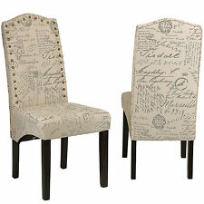 Cortesi Home Miller Dining Chair in Beige Script Fabric (Set of 2)