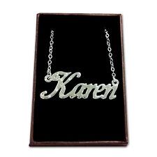 White Gold Plated Name Necklace - KAREN - Gift Ideas For Her - Wedding Birthday