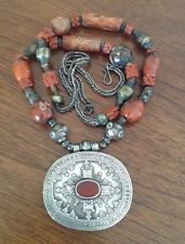 Old TURKOMAN tribal ethnic big Pendant Silver Beaded Necklace Raw Agate, Coral