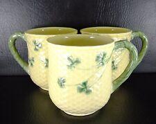 Bordallo Pinheiro Shamrock Set of 3 Mugs Yellow Green Clover