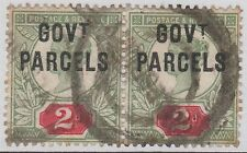 Pair of GB QV 2d Grey-Green & Carmine SGO70 GOVT PARCELS Used 1891 Stamps