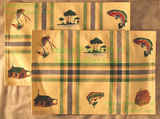 2 Foreston Trends Placemats - Fly Fishing Cabin Wicker Creel EXCELLENT Condition