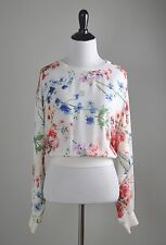 THEORY $225 100% Silk Delpy Elastic Cropped Semi Sheer Blouse Top Size Medium
