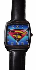 DC Comics SUPERMAN Logo Square Face Leather Band WRIST WATCH