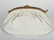 FINESSE LA MODEL NY OFF WHITE KARUNG SNAKESKIN SHOULDER BAG, INLAID WOOD FRAME