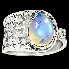 Rainbow Moonstone 925 Sterling Silver Ring Jewelry s.9 RR4190