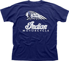 US Retro Indian Motorcycles Vintage Harley chop Biker navy cotton t-shirt 01533