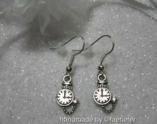 Nurse Doctor pocket watch Earrings with crystal on silver plated wires gift bag