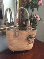 Coach Bag Natural Straw Leather Flower Woven Tote Shoulder Bag 13373 B2
