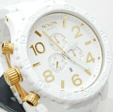 New Nixon Watch 51-30 Chrono All White Gold A0831035 A083-1035 100% Authentic