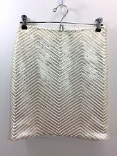 NWT $110  BANANA REPUBLIC Gold White Sequin Skirt size 0P or 0 Petite