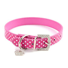 Adjustable Cute Leather Puppy Pet Dog Diamante Bling Collar with Buckle Pink/Red