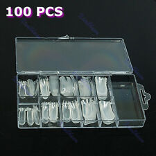 100Pcs Dual Form Nail System UV GEL Acrylic Nail Art Mold Design Tips Decor Case