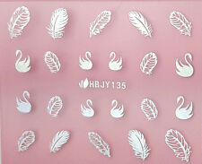 Silver Swans Classic Feathers 3D Nail Art Sticker Decals UV Gel Manicure