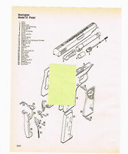 REMINGTON  MODEL 51 PISTOL EXPLODED VIEW, PARTS LIST 1982 AD