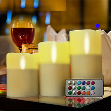 3PCS LED Candles Flameless Colorful Wedding Birthday Party Club Remote Control