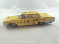 Vintage TAIYO World Toy Ford Yellow Cab Taxi Tin Friction Japan