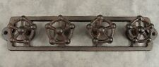 INDUSTRIAL VALVE HANDLE 4 KNOB Cast Iron STEAMPUNK SCULPTURE WALL RACK