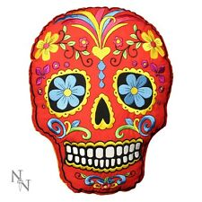 Nemesis Now Sugar Skull Shaped Cushion Pillow Red 27cm Day Of The Dead