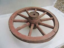 Antique Wooden Wagon Wheel Horse Cart Iron Strap Spokes Vintage Old French 14.5""