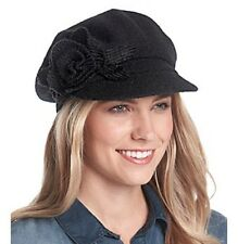 Nine West Wool Blend Cabbie Hat Black Flower One Size NWT $36.00