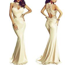 Abito lungo aperto Pizzo Coda aderente Ricamo Cerimonia Maxi Evening Dress M