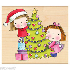 New Penny Black THE DECORATORS Wood Rubber Stamp Mimi Christmas Tree Girls Gifts
