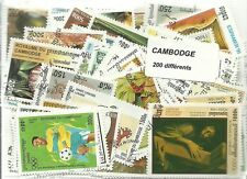 Lot  de 200 timbres du Cambodge