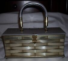 Vintage 1950s Silver Tone Woven Metal Marbled Lucite Box Purse Handbag Fifth Ave