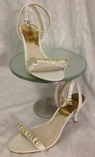 Michael Kors Women's White Strappy Heels With Bow And Gold Studs Size 9.5M NWOB