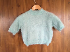 FLUFFY JUMPER Light Blue Short Sleeve Cropped Soft Knit UK 8 / EUR 36 - NEW