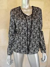 Nipon Boutique Black Lace Overlay Long Sleeves 2 Pc Twinset Top Jacket Sz 10 NWT