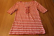 W9852 womens OLD NAVY CORAL WHITE stripe ruffle detail HENLEY casual shirt sz M