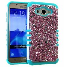Samsung Galaxy J7 2015 - HYBRID HARD&SOFT RUBBER CASE COVER DIAMOND BLING STUDS