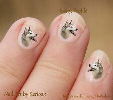 Husky Profile,  24 Unique Designer Dog Nail Art Stickers Decals by Kerioak