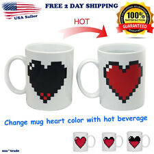 Magic Pixel Heart Coffee Milk Hot Cold Heat Sensitive Color Changing Mug Cup new