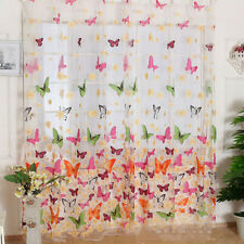 Butterfly Print Sheer Curtain Panel Window Balcony Tulle Divider 100*200cm