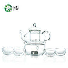 Clear Glass Tea Set 600ml Teapot + Warmer + Double Wall GlassTeacup x 4