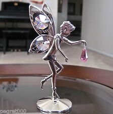 Fairy Figurine  made with Swarovski  Octagon and Drop Prisms Silver Plated Pink