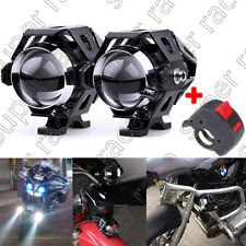 2xpcs 125W Motorcycle CREE U5 LED Driving Headlight Fog Lamp Spot+Switch For BMW