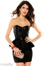 Ladies Sequin Black Formal Cocktail Dinner Dress