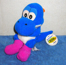 "NINTENDO 64 SUPER MARIO BROTHERS BLUE YOSHI PURPLE FEET 7"" PLUSH BEAN BAG 1997"