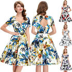 Vintage 1950's 1960's Floral Swing Prom Evening Party Circle Dress BP