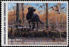 ARKANSAS #30 2010 STATE DUCK  STAMP  MALLARDS  & BLACK LAB by  Philip Crowe